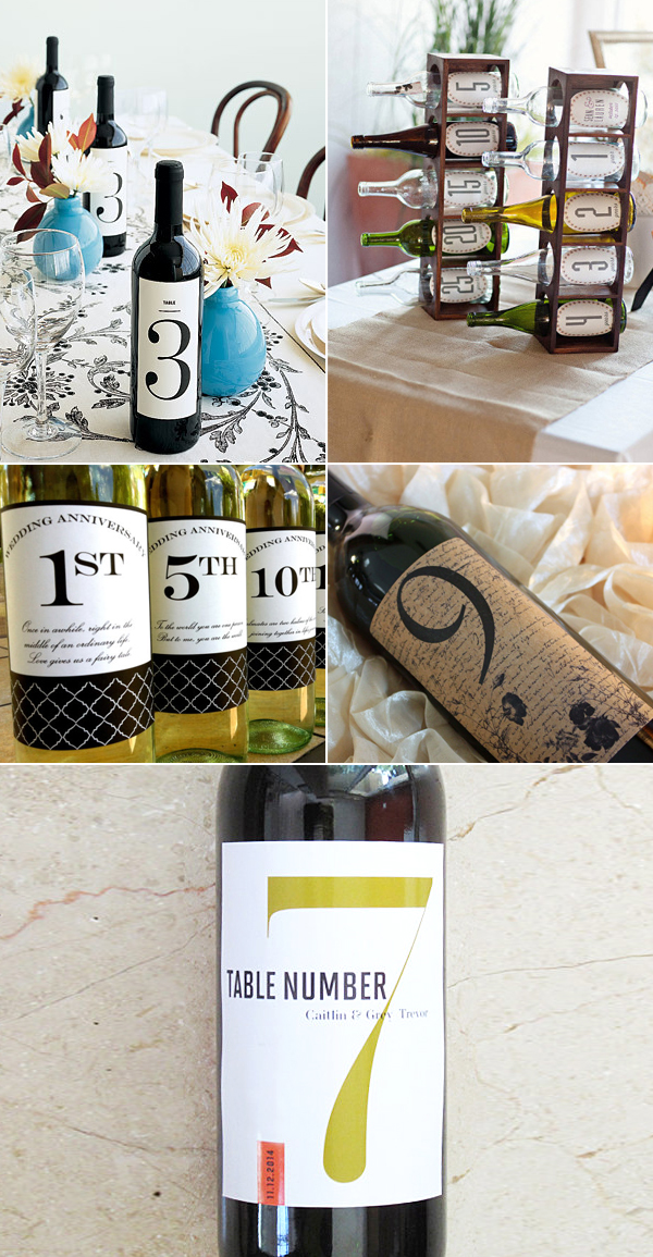 Custom Table Number Wine Labels with Personalized Initials