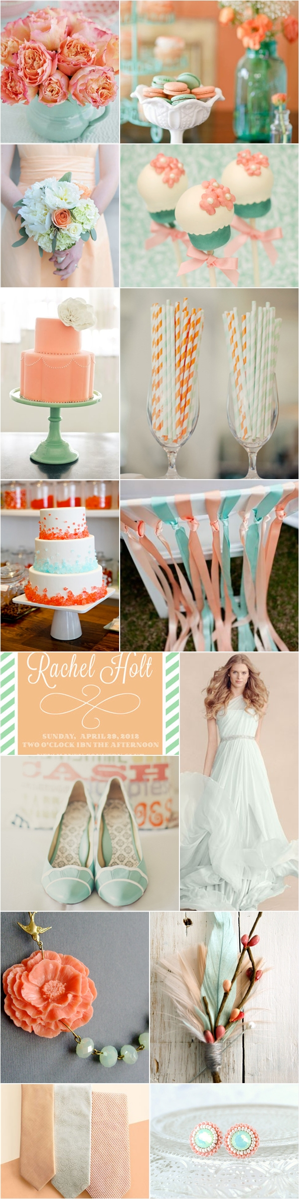 Blue And Green Decor Wedding Color Palette Mint Green Peach Praise Wedding