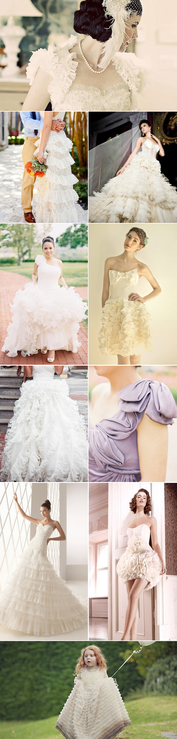Ruffles on wedding dresses accessories and cakes the for The loft wedding dresses