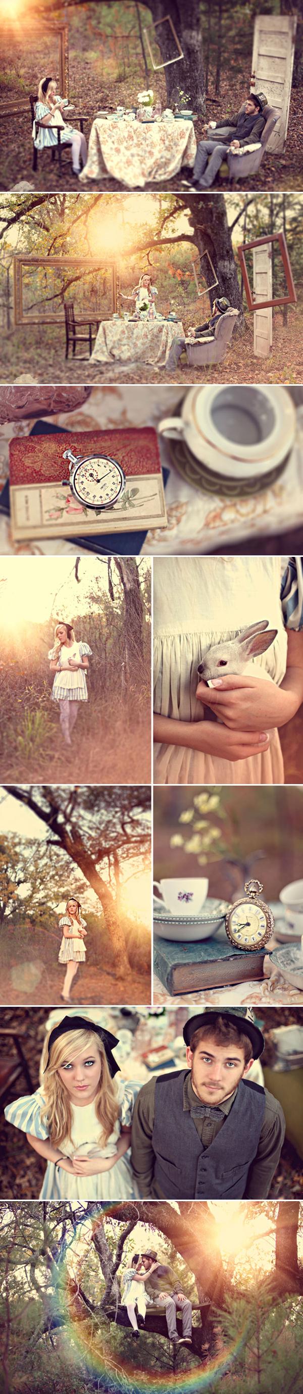 Alice in Wonderland engagement photo