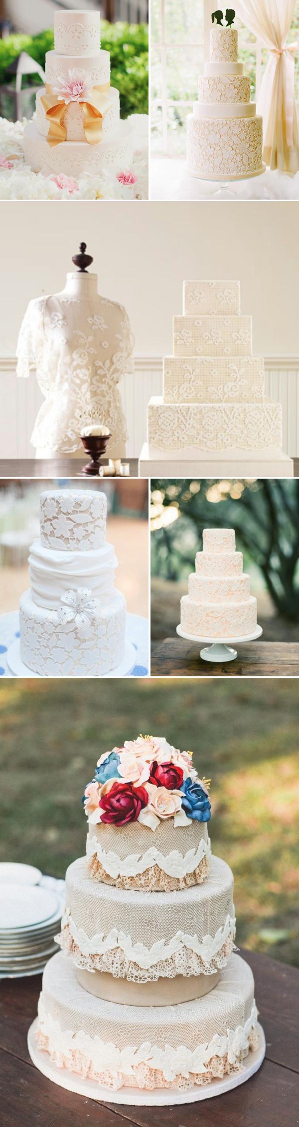 lace wedding cakes-white