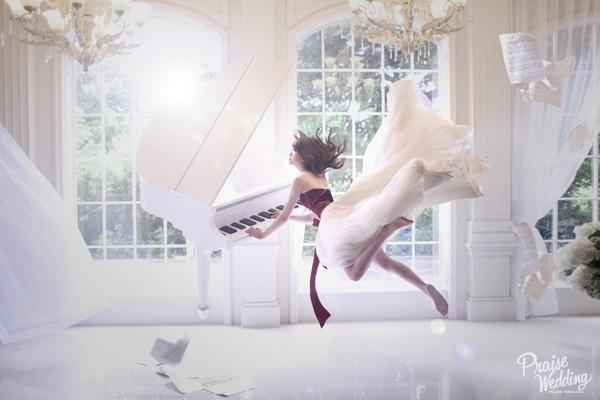 創意婚紗攝影 – 飄浮婚紗 (新竹法國巴黎拍攝)