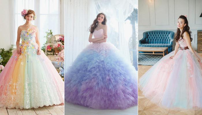 喚醒每顆少女心的粉嫩彩虹! 27件童話公主風粉嫩混搭色禮服!