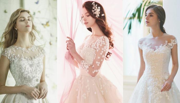 花卉婚紗再升級! 30件綻放仙女氣息的浪漫花卉領口嫁衣!