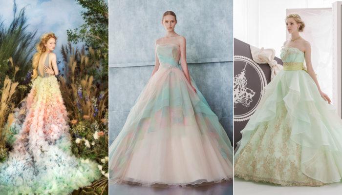 喚醒少女心的清新色彩! 24件夢幻春季混搭色婚紗!