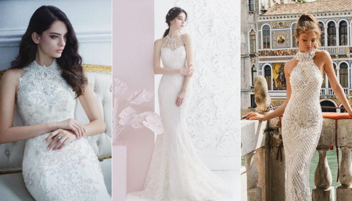 秀出自信優雅的女人味! 22 件令人驚豔的絕美繞頸式婚紗