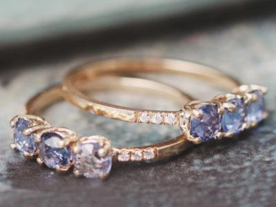 Blue Rose Cut Sapphire Ring