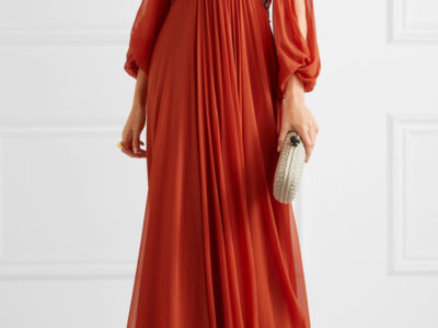 Cold-shoulder Silk Chiffon Gown