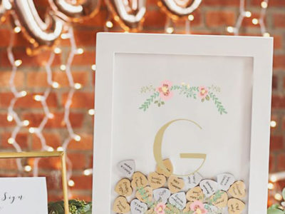 Monogram Heart Drop Guestbook