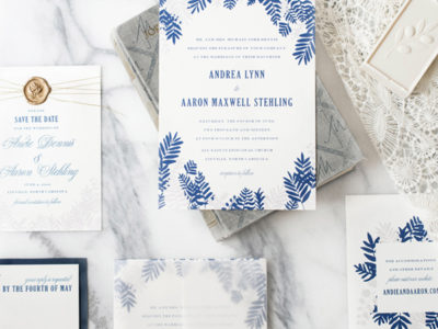 French Blue Fern Invitation
