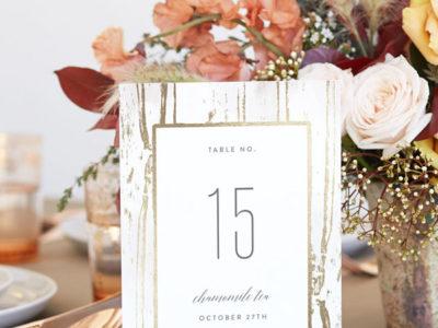 Gilded Woodgrain Table Numbers (10)