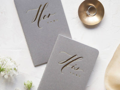 His and Her Gold Foil Press Vow Books