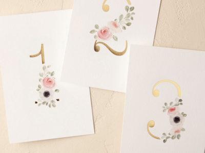 Peeking Florals Table Numbers