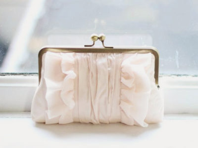 Blush Ruffle Clutch