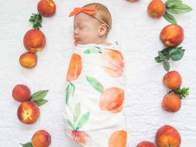 Watercolor Peaches Organic Cotton Blanket