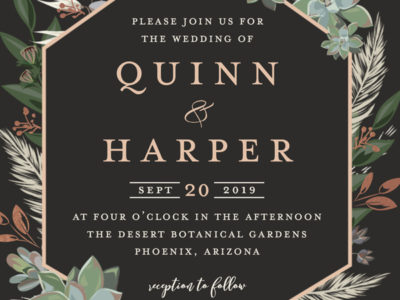 Succulent Gold Foil Invitation (100)