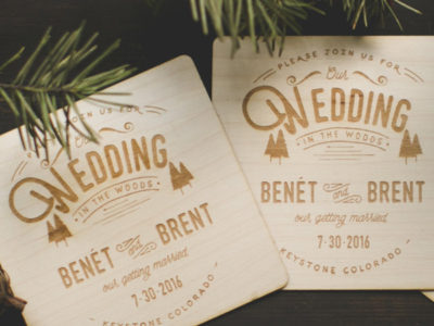 Wood Engraved Coasters Invitation
