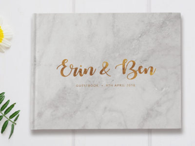 Marble Gold Foil Guestbook