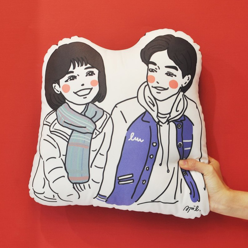 10-Custom illustration pillow