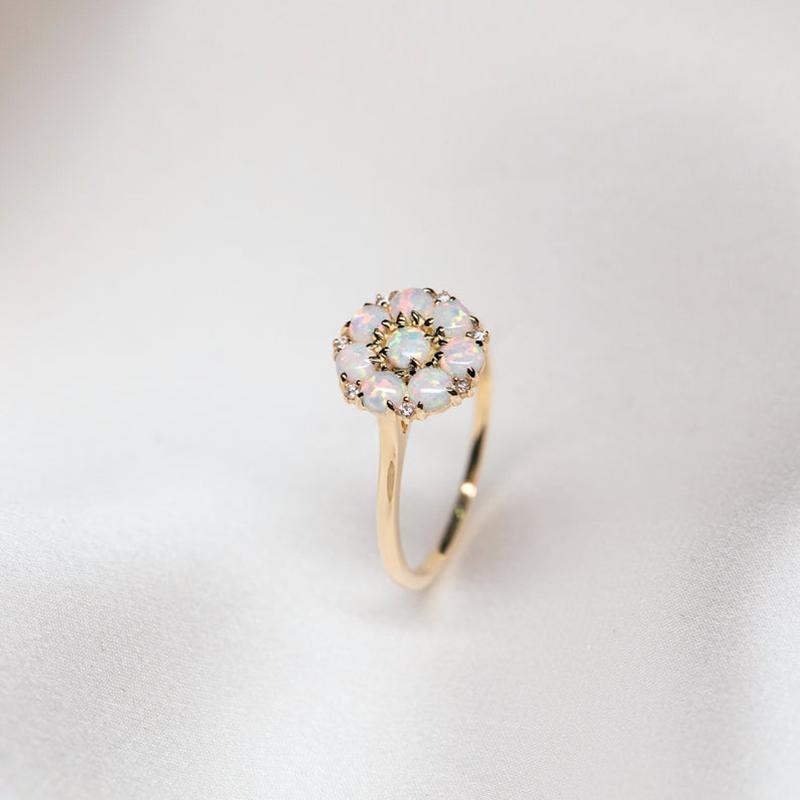 Blossom Australian White Opal Ring