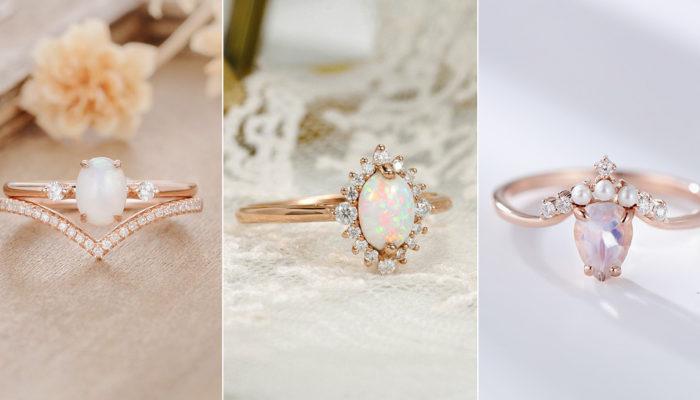 满足少女心的白色浪漫 – 13款梦幻白宝石婚戒