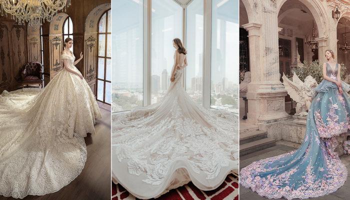 15件展現神聖公主氣勢的長拖尾婚纱,震撼視覺的經典童話禮服