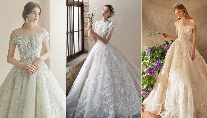 15件溫柔綻放的純白花卉婚紗,走進一塵不染的夢幻花園